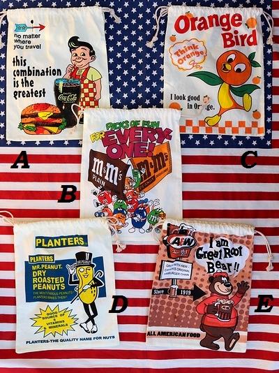 アメリカン巾着 ビッグボーイ巾着 オレンジバード巾着 エム&エムズ巾着 ミスターピーナッツ巾着 A&W巾着 サンブリッヂ