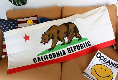 カリフォルニアカーテン カリフォルニアカフェカーテン カリフォルニア旗  アメリカ雑貨屋 サンブリッヂ アメリカン雑貨通販