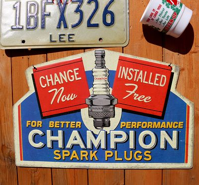 チャンピオン看板 チャンピオンプラグ看板 ガレージ看板 ブリキ看板 アメリカ雑貨通販 SUNBRIDGE