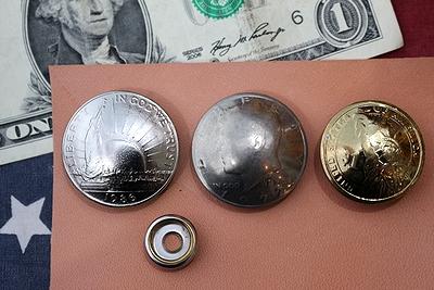 コインコンチョ レザーウォレットコンチョ レザークラフトコイン 50セントコンチョ アメリカ雑貨屋 サンブリッヂ