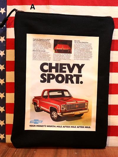 アメリカンクラッチバッグ シェビー雑貨 シェビーバッグ アメ車ポーチ アメリカ雑貨通販 サンブリッヂ