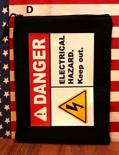 看板クラッチバッグ アメリカンポーチ アメリカ雑貨通販 コーションポーチ デンジャーポーチ アメリカ雑貨通販