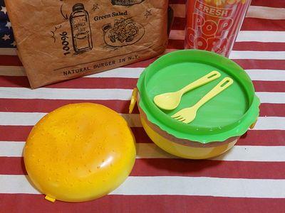 ハンバーガーランチボックス 3段弁当箱 スプーン・フォーク付き リブサンド アメリカ雑貨屋 アメリカ雑貨 SUNBRIDGE