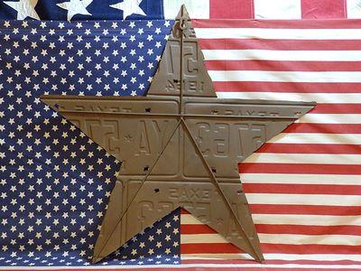 ナンバープレート スター看板 エンボス加工 ナンバープレート貼り合わせ 切り抜き アメリカ雑貨屋 SUNBRIDGE
