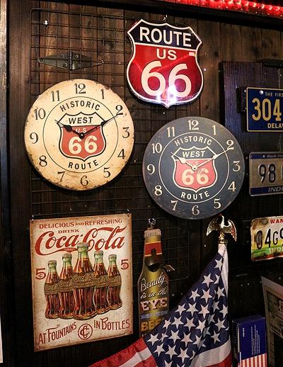 ルート66壁時計 アンティーク調時計 ROUTE66時計  アメリカ雑貨屋 サンブリッヂ アメリカン雑貨通販