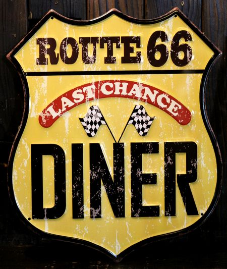 ルート66看板 ブリキ看板 ROUTE66 アメリカ雑貨屋 アメリカン看板 ガレージ看板 サンブリッヂ 看板通販