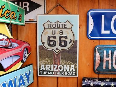 ルート66木製看板 ROUTE66看板 アリゾナロード看板 ガレージ看板 アメリカ雑貨屋 サンブリッヂ 通販