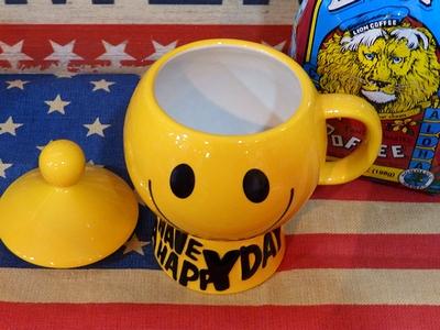 スマイルマグカップ スマイルマグ ニコちゃんマグカップ ビンテージスマイルジャー フタ付き アメリカ雑貨屋 サンブリッヂ