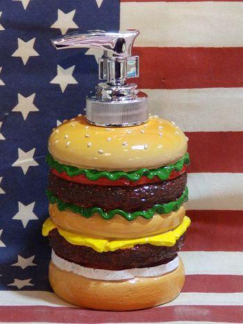 ハンバーガー 手榴弾 ソープディスペンサー 風呂場 洗面所 ハンドソープ おもしろ雑貨 アメリカ雑貨屋 SUNBRIDGE