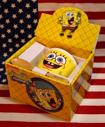 スポンジボブマグカップ スポンジボブスプーン付きマグカップ アメキャラマグ アメリカ雑貨屋 サンブリッヂ