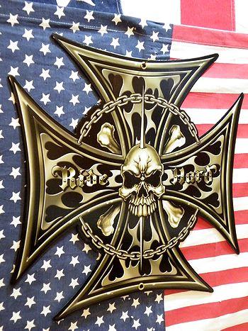 スチールサイン 看板 アイアン スカル 髑髏 十字架  アメリカ雑貨 SUNBRIDGE 雑貨 通販