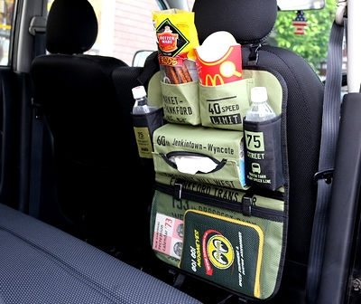 おでかけポケットバスサイン 後部座席ポケット 車収納 車ドリンクホルダー アメリカ雑貨屋 サンブリッヂ