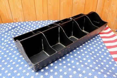 ブリキボックス ブリキ箱 工具入れ グリーン入れ ガーデニング 仕切りつき収納ボックス アメリカ雑貨屋 サンブリッヂ