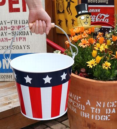 アメリカンバケツ アメリカブリキバケツ 星条旗バケツ アメリカ雑貨屋 サンブリッヂ アメリカン雑貨 通販