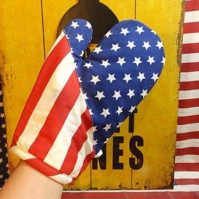 アメリカ柄ミトン アメリカ柄鍋しき 星条旗キッチンセット 星条旗ミトン 星条旗鍋敷き アメリカ雑貨屋 サンブリッヂ 雑貨通販