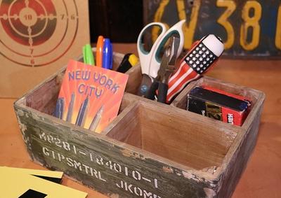 ステンシル入りウッドボックス ストレージボックス ミリタリー雑貨 収納ボックス アメリカ雑貨屋 サンブリッヂ