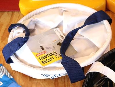 ターポリンバケツ 13Lバケツ コンパクト収納 WASHERS ホワイト ブラック アメリカ雑貨屋 サンブリッヂ
