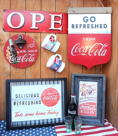 コカコーラ看板 ブリキ看板 インテリア ウッドフレーム COCACOLA アメリカ雑貨屋 サンブリッヂ