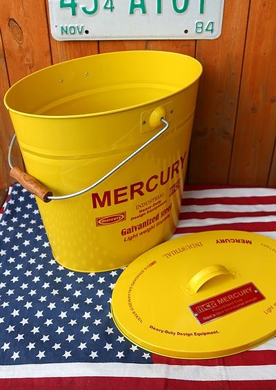 マーキュリーフタ付きバケツ オーバルバケツ カーキ MERCURY アメリカ雑貨通販 サンブリッヂ